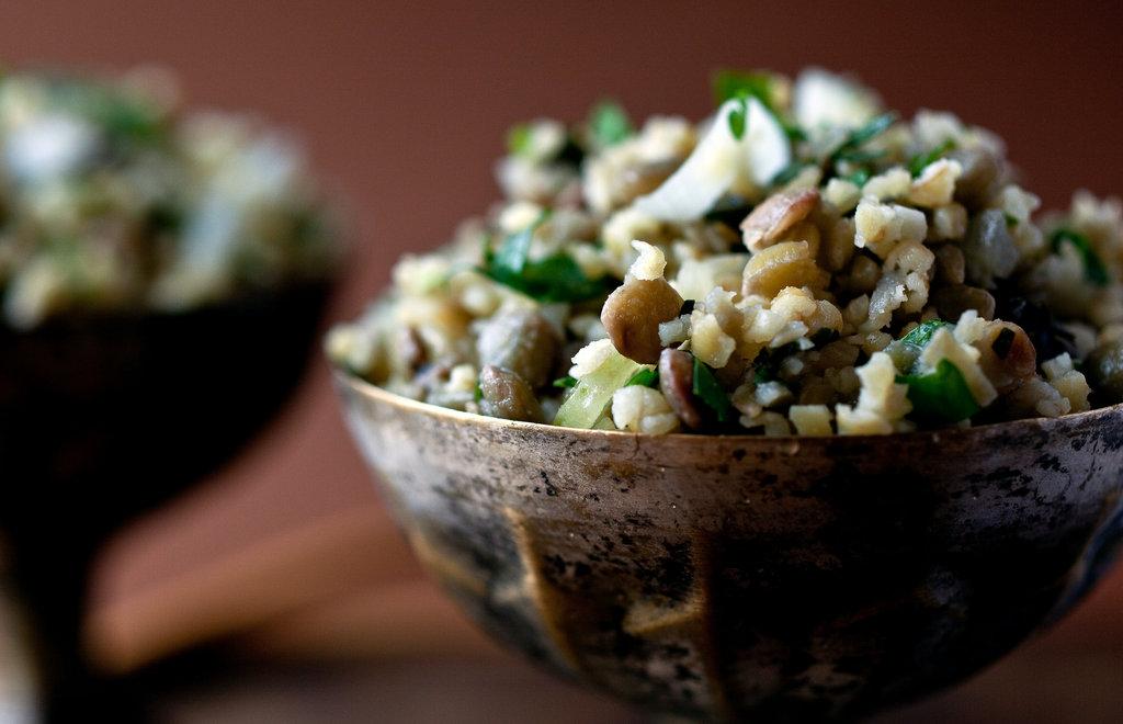 Martha Rose Shulman's excellent Lentil and Bulgur Pilaf recipe