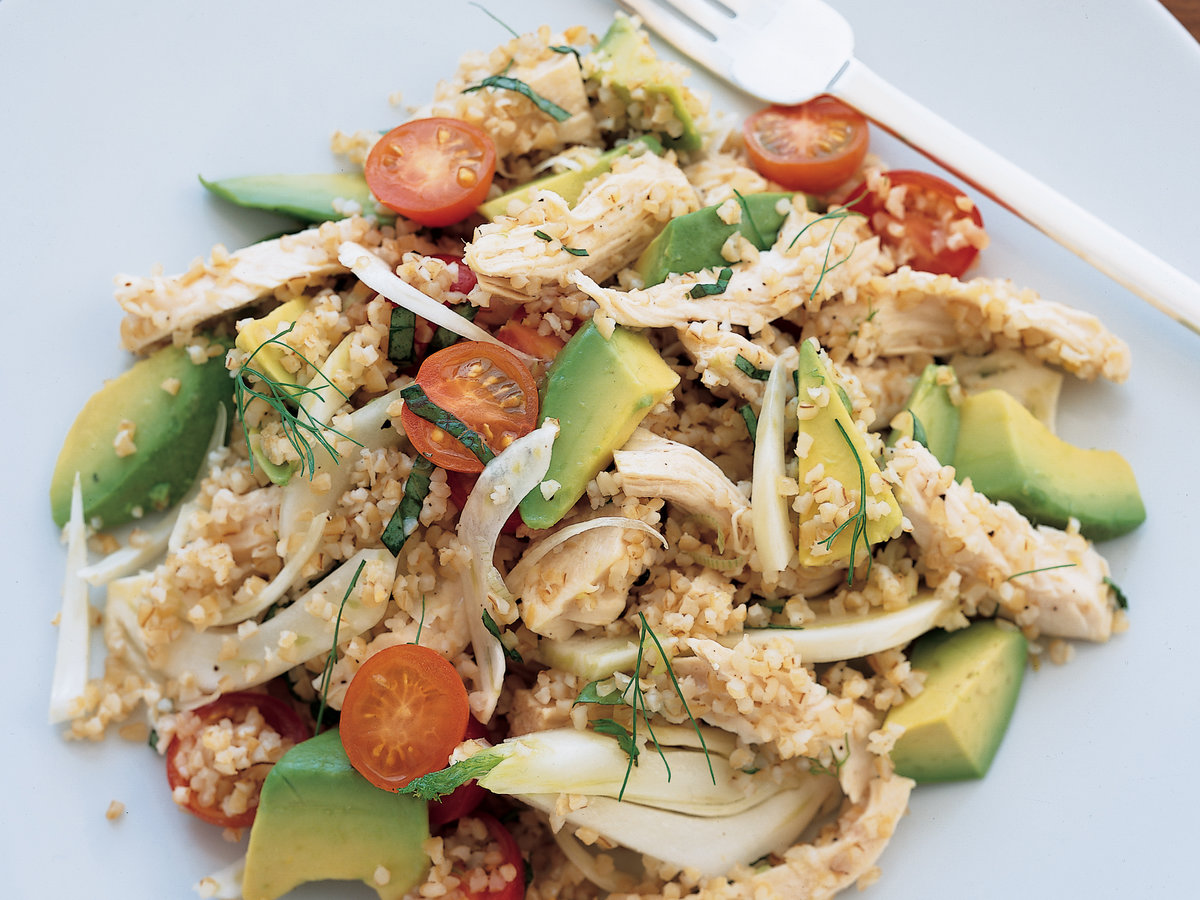 Chicken and Bulgur Salad with Fennel Tomato and Avocado